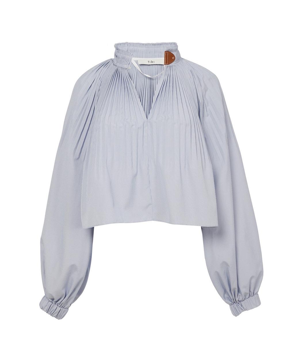 Tibi Blue/White Multi Isabelle Shirting Top In Blue/White Multicolor