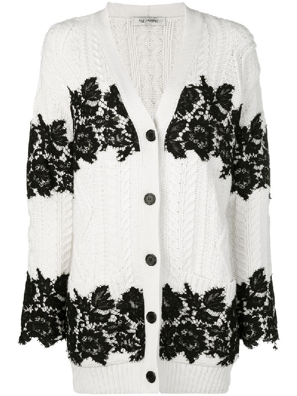Valentino Lace-Trimmed Virgin Wool Cardigan In White