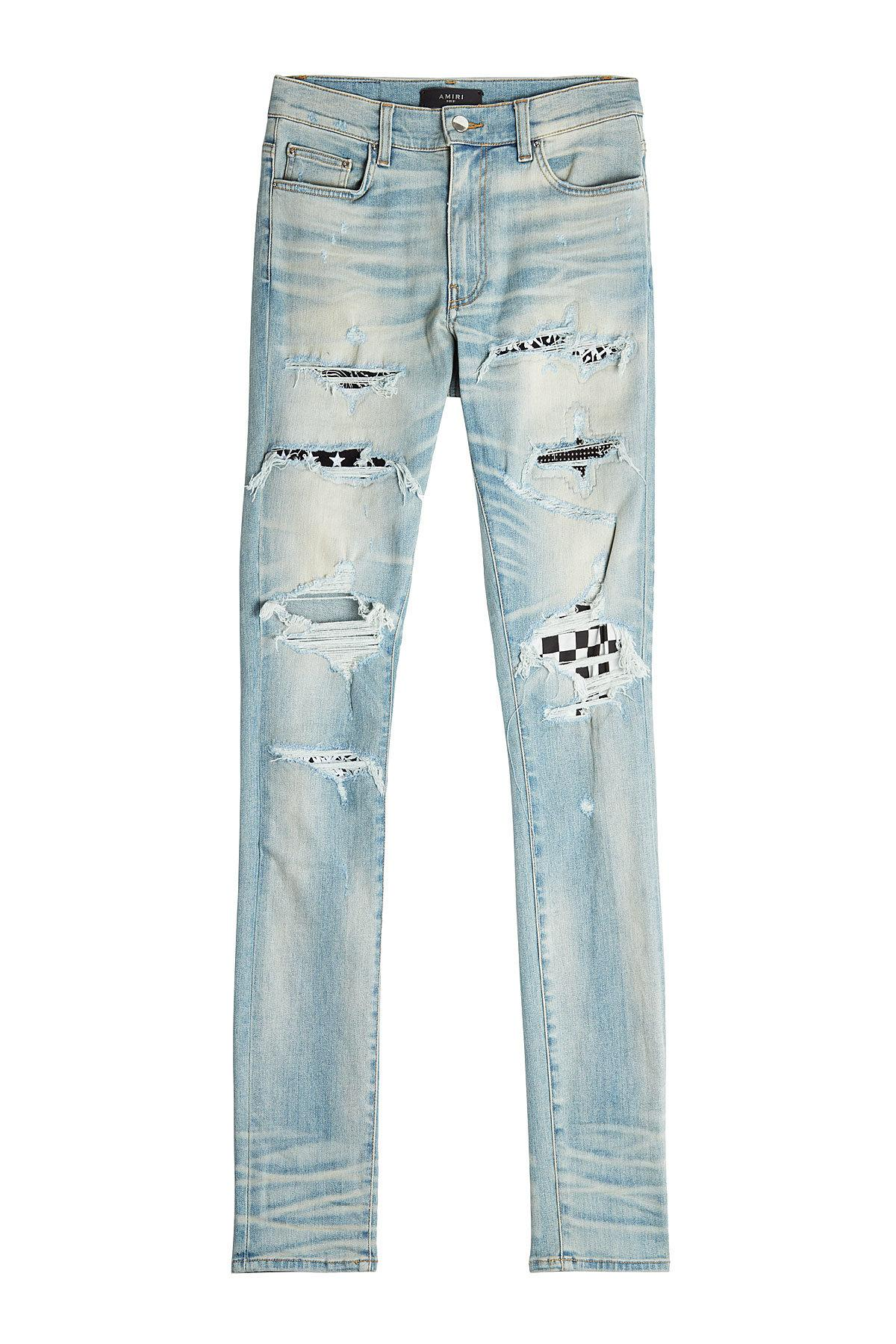 store buy cheap sleek Art Patch Distressed Skinny Jeans in Blue