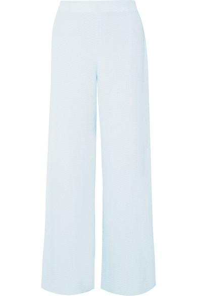 Roland Mouret Glover Embroidered CloquÉ Wide-Leg Pants In Blue
