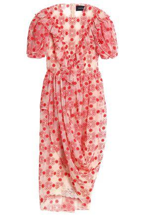 Simone Rocha Woman Draped Embroidered Cotton-Blend Tulle Midi Dress Red