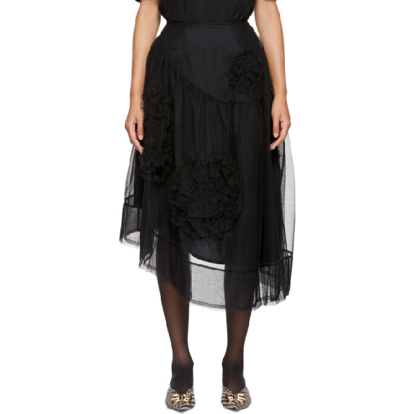 6abb62c0f2 Simone Rocha Woman Asymmetric Layered Lace-Trimmed Tulle Skirt Black ...