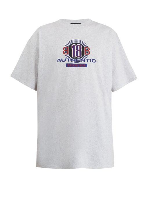 465e364e5c0c Balenciaga Oversized Printed Cotton-Jersey T-Shirt - Gray In Grey ...
