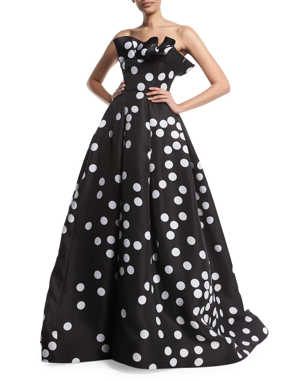 494509814aa52 Monique Lhuillier Abstract Polka-Dot Strapless Silk Gazar Ball Gown W/  Ruffle Neckline In