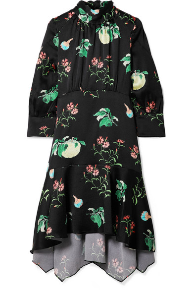 Peter Pilotto High-Neck 3/4-Sleeve Floral-Print Silk Dress In Black