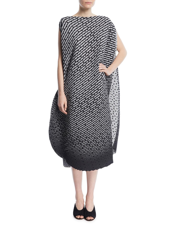 Issey Miyake Dot-Stripe Belted Asymmetric Midi Dress In Black Pattern