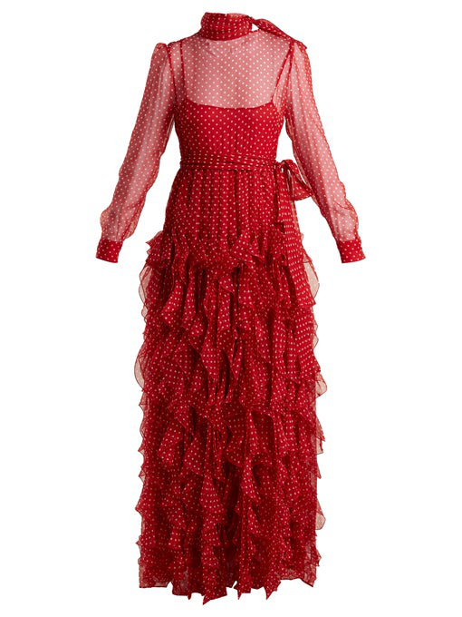 Valentino Long-Sleeve Tie-Neck Polka-Dot Ruffled Chiffon Evening Gown In Red