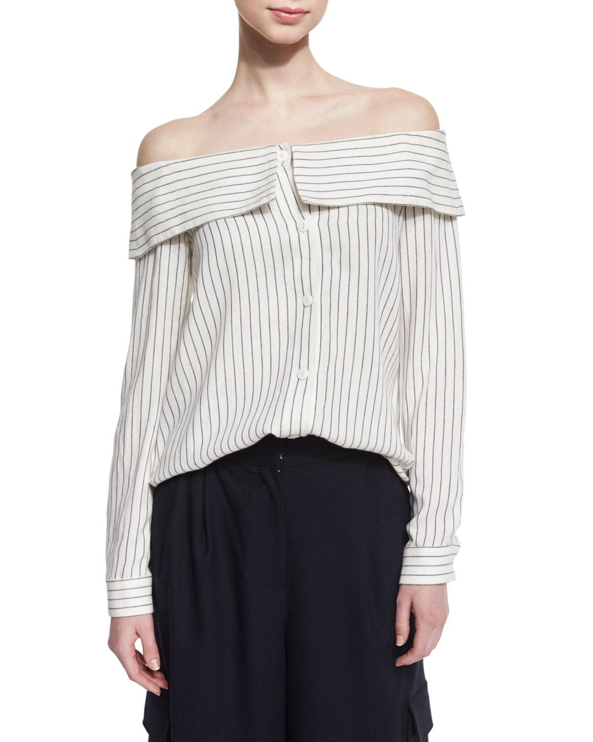 Tibi Frederic Off-The-Shoulder Striped Top, Ivory/Black In Ivory/Black Mu