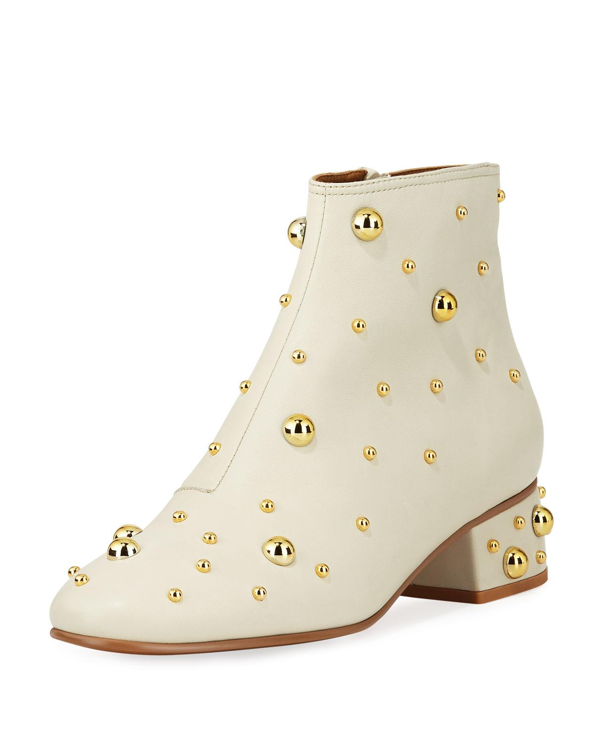 7416e34f Women's Studded Leather Block Heel Booties in White