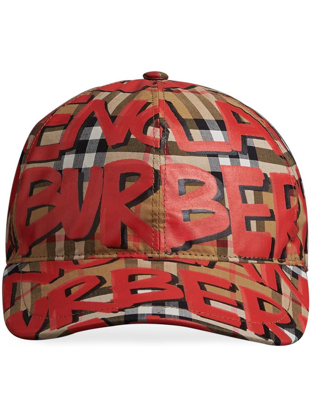 3b4a6da0fc7fed Burberry Graffiti Vintage Check Baseball Cap In Red | ModeSens