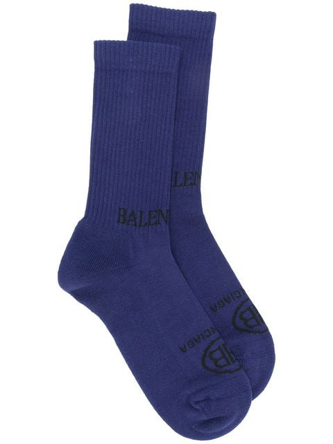 Balenciaga Ogo-Intarsia Ribbed Stretch Cotton-Blend Socks - Blue