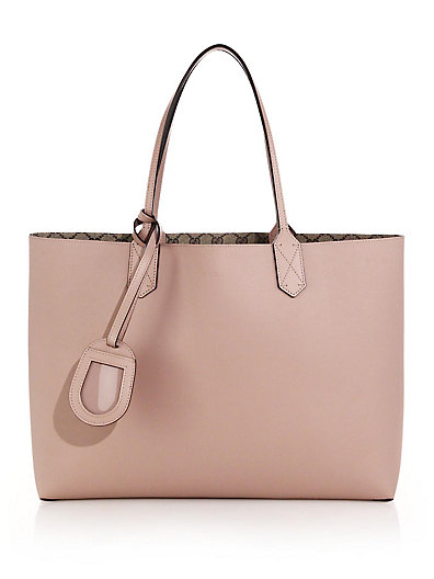 Gucci Reversible Gg Medium Leather Tote In Pink-Beige