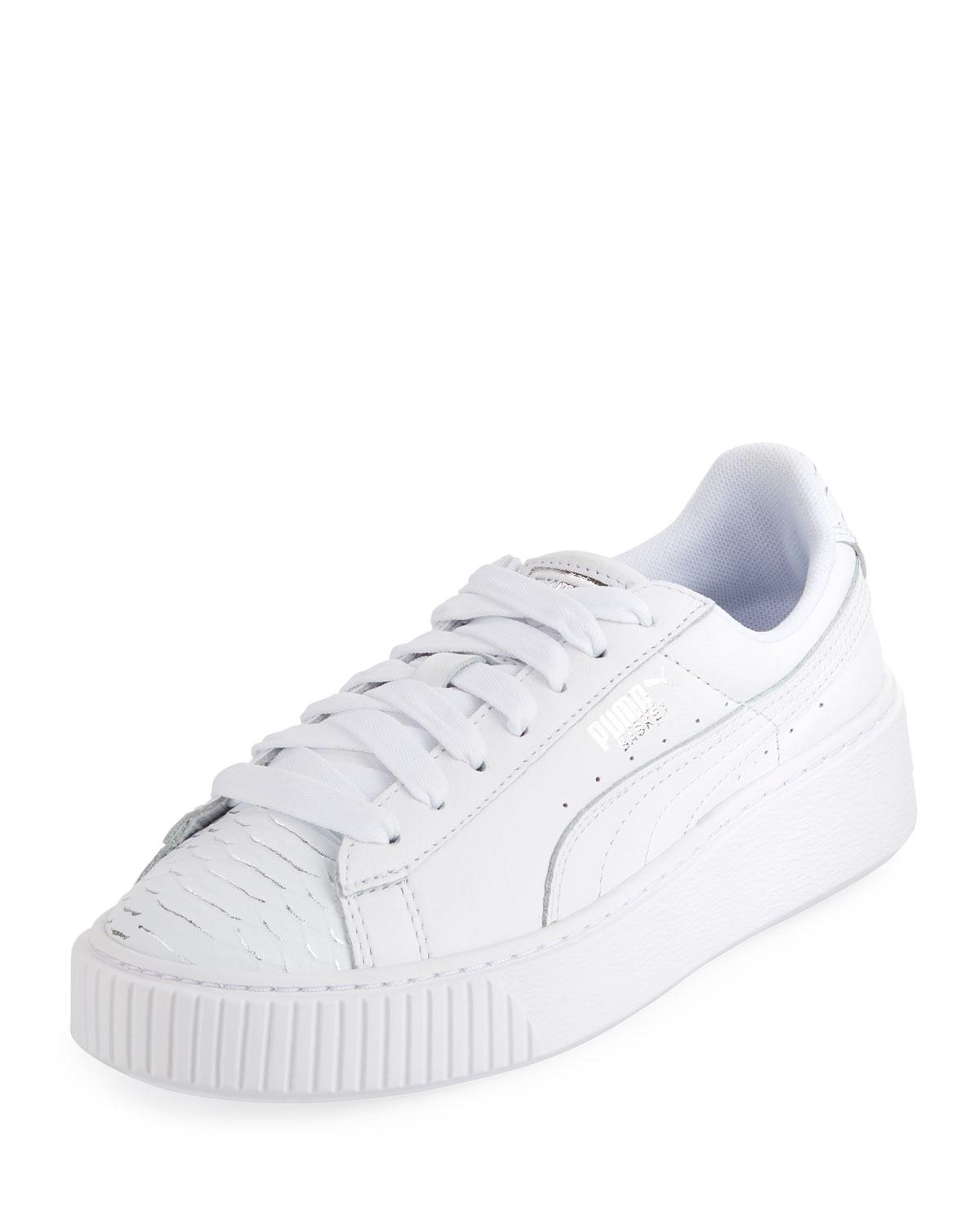 Women's Basket Ocean Leather Lace Up Platform Sneakers In White