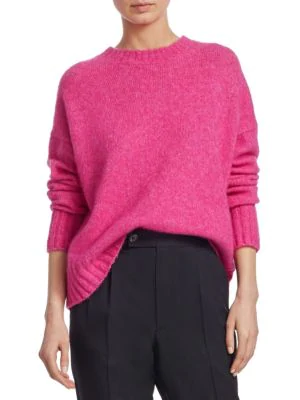 Helmut Lang Brushed Wool-alpaca Crewneck Sweater In Pink