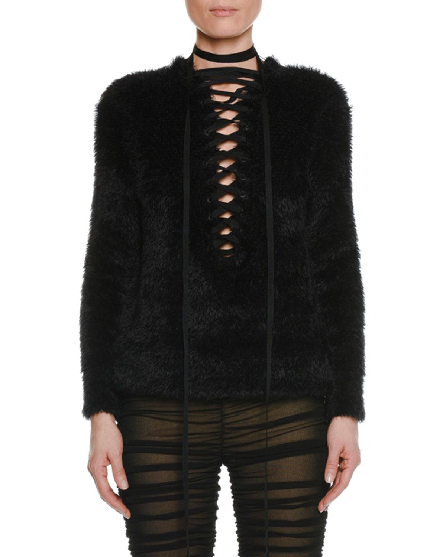 tom ford lacing deep v long sleeve furry wool pullover. Black Bedroom Furniture Sets. Home Design Ideas