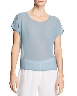 Eileen Fisher Sheer Silk Top In Blue Steel