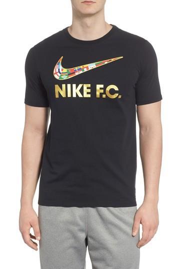 a8d1005058b6 Nike F.C. Swoosh Flag Graphic T-Shirt In Black  Metallic Gold