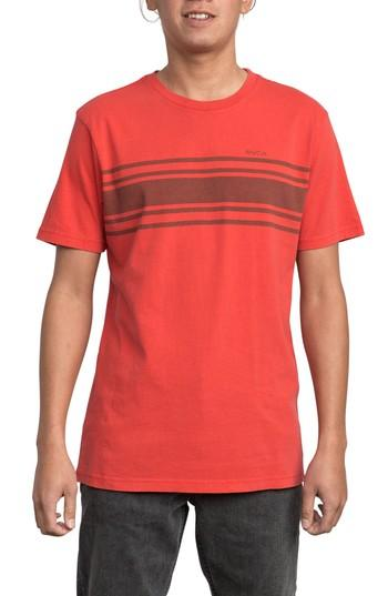 Rvca Elliot Stripe T-Shirt In Chinese Red