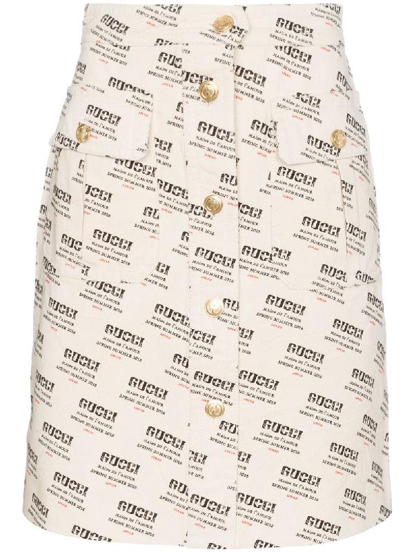 ef248aefaeb Gucci Ctn Drill Stamp Skirt In Neutrals. SIZE   FIT INFORMATION
