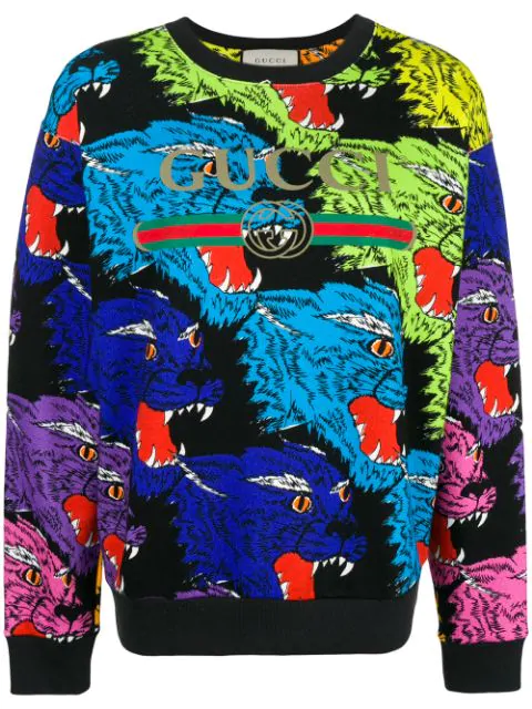 bed7630ed Gucci Multicolor Angry Panther Heavy Felted Cotton Oversized Sweatshirt In  Black