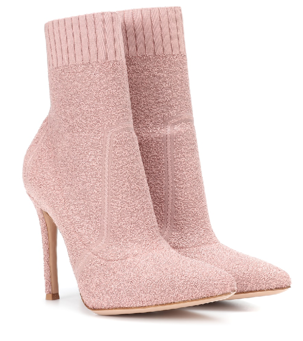 0f5656def057 Gianvito Rossi Glitter Boucle Knit Pull-On Bootie In Pink | ModeSens