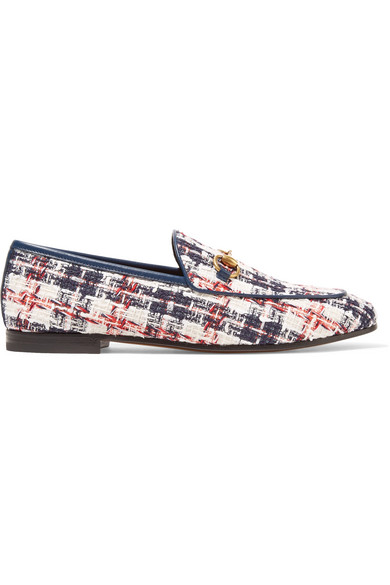 ac9d270255d Gucci Jordaan Horsebit-Detailed Leather-Trimmed Tweed Loafers In White