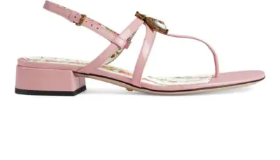 70a80da1daae Gucci Light Pink Bee Patent Leather Sandals