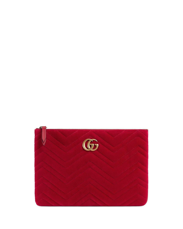 16a978bdd Gucci Gg Marmont Velvet Zip Pouch Bag In Red | ModeSens
