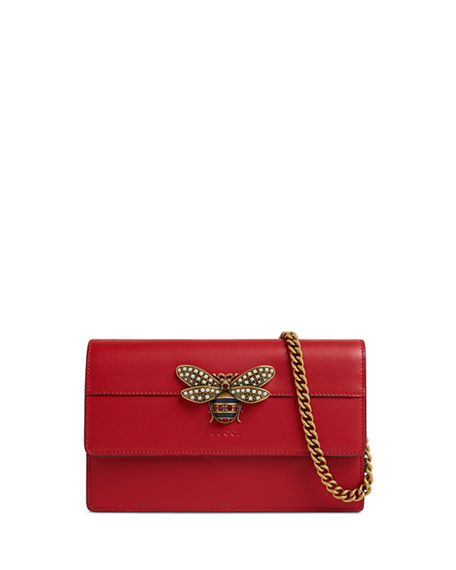 e6219486666 Gucci Queen Margaret Leather Bee Wallet On Chain Bag In Red   ModeSens