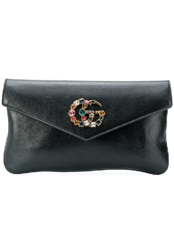 65ed773ec7be41 Gucci Broadway Crystal Gg Leather Envelope Clutch - Black | ModeSens