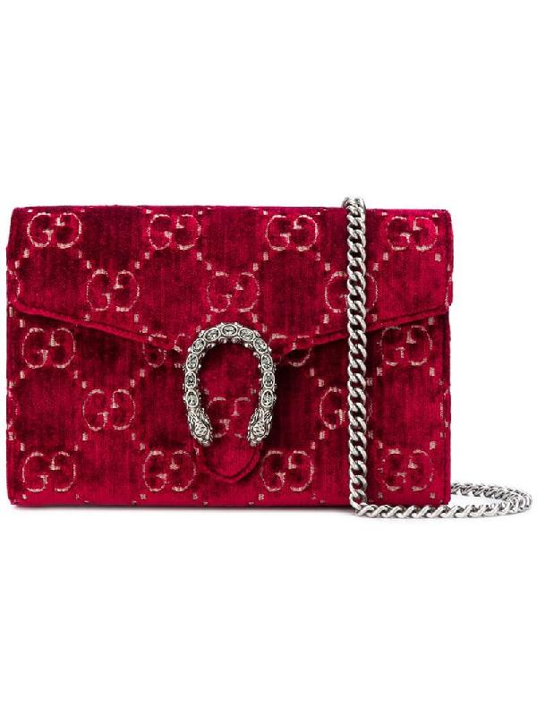 756e25eb231a Gucci Dionysus Velvet Gg Supreme Wallet On Chain, Dark Red | ModeSens