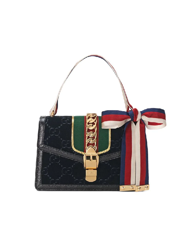 a7b15b9dc78d Gucci Small Sylvie Velvet Shoulder Bag - Black In 8711 Black Oro ...