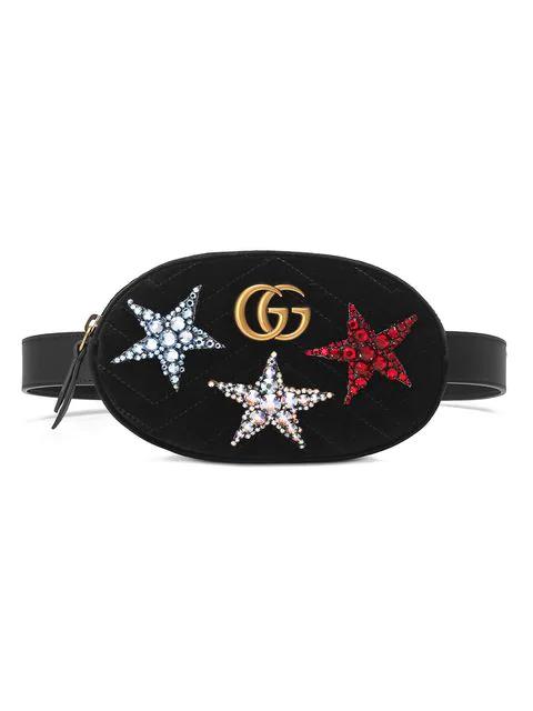 abb6bb0bf Gucci Marmont 2.0 Crystal Stars Velvet Belt Bag - Black | ModeSens