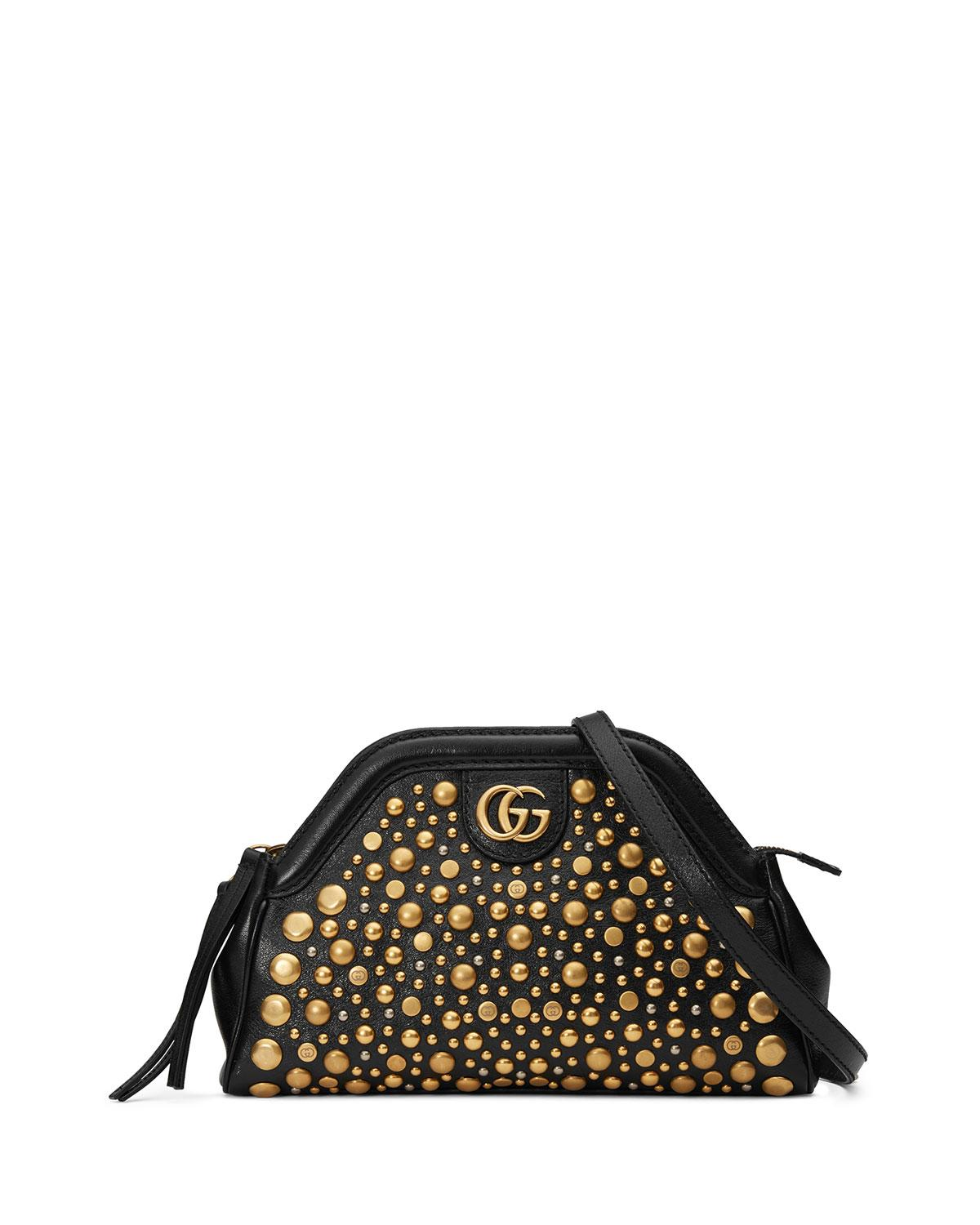 09b3b8596aa Gucci Small Re Belle Studded Leather Crossbody Bag Black In
