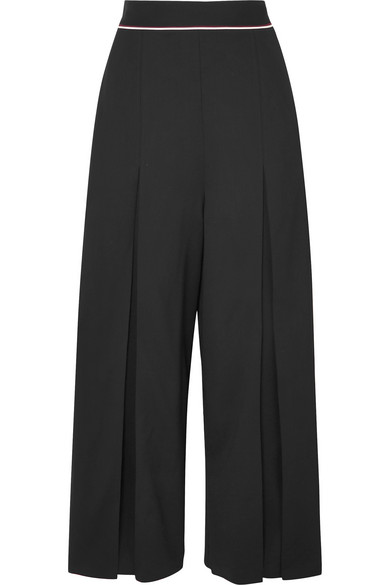 Stella Mccartney Piped-Waist Inverted-Pleat Wide-Leg Wool Culotte Pants In Black