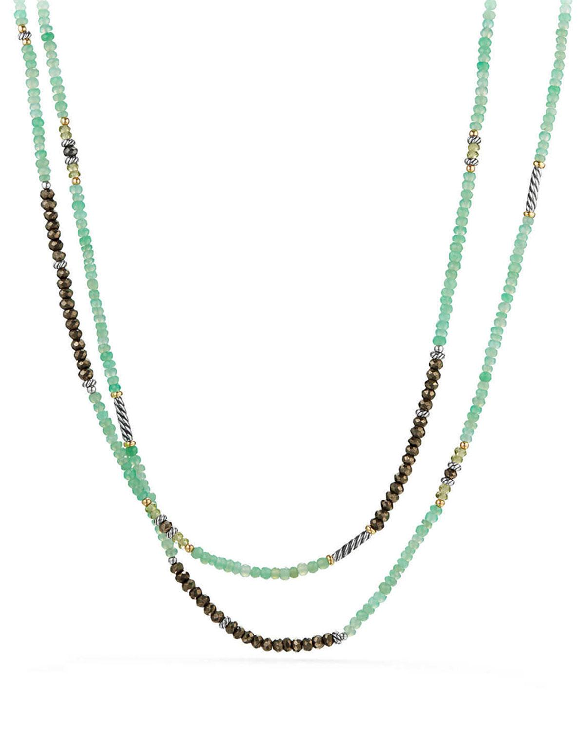 David Yurman Tweejoux Bead Necklace In Chrysoprase, Pyrite & Peridot With 18K Gold In Green/Gray