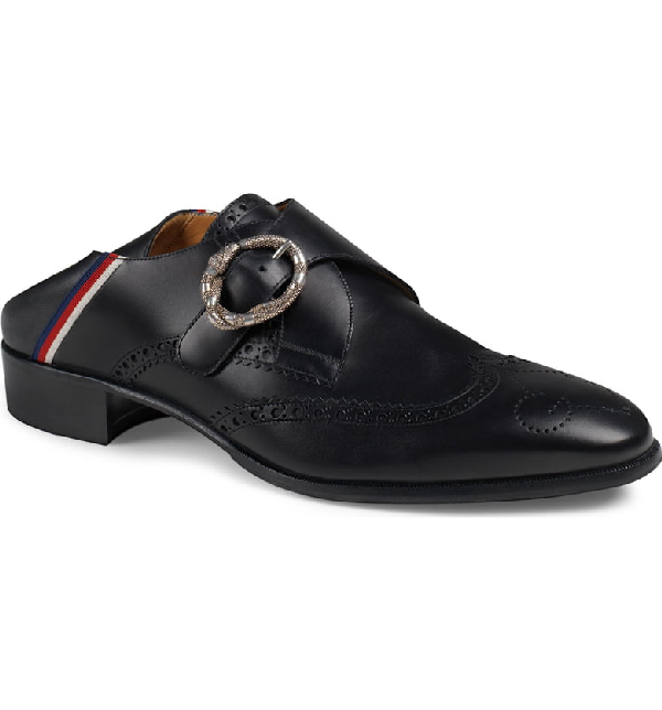 Gucci Leather Brogue Shoe With Sylvie Web In Black