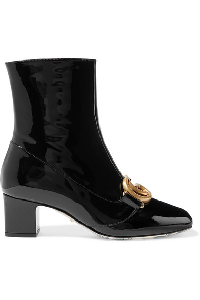 Gucci Women's Victoire Patent Leather Double G Booties In Black