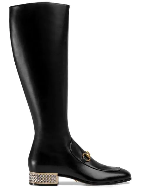 Gucci Women's Mister Leather & Crystal Heel Tall Boots In Black