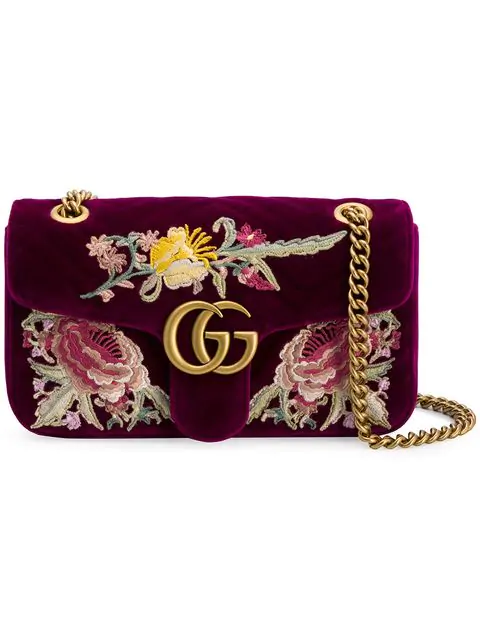68c2c984b48e52 Gucci Small Gg Marmont 2.0 Matelasse Velvet Shoulder Bag - Pink ...
