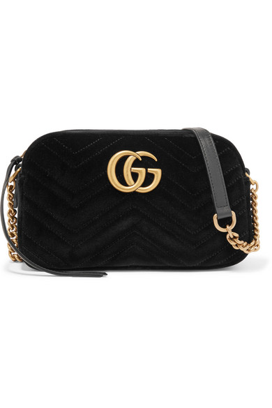 39e6c6c10c5 Gucci Gg Marmont Small Leather-Trimmed Quilted Velvet Shoulder Bag In Black