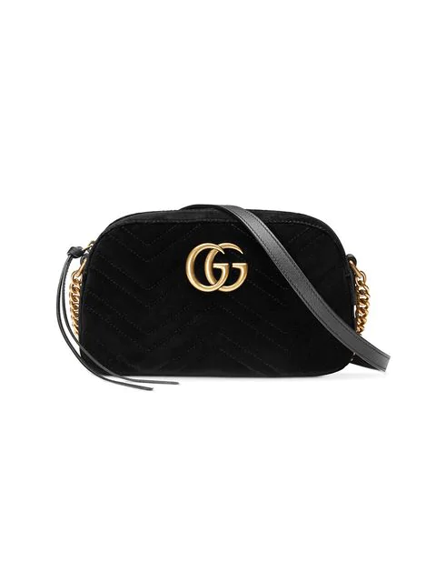 Gucci Gg Marmont Small Leather-Trimmed Quilted Velvet Shoulder Bag In Black