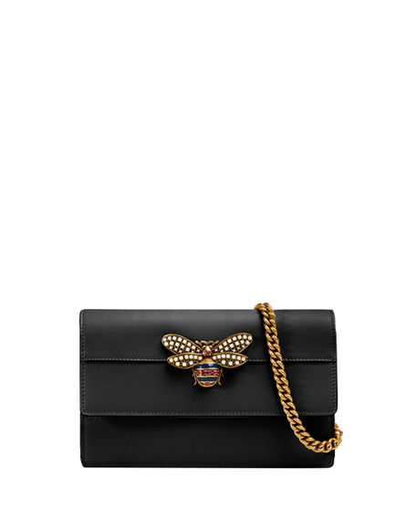3fb6ca550768 Gucci Queen Margaret Leather Bee Wallet On Chain Bag, Black | ModeSens
