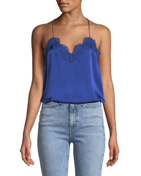 Cami Nyc The Racer Silk Charmeuse Camisole W/ Lace In Blue