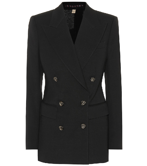 Burberry Double-Breasted Crest-Button Evening Jacket In Black