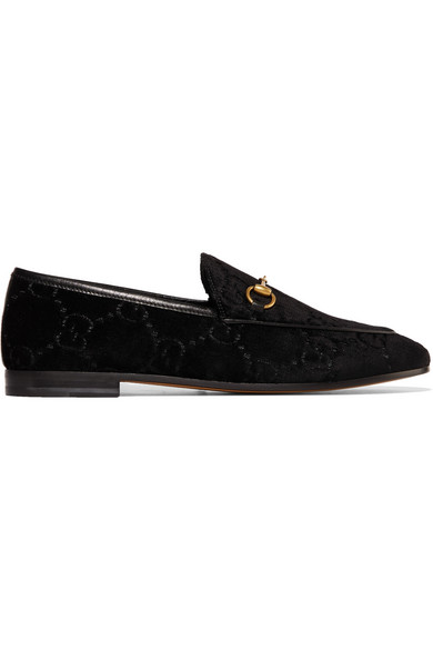 d2abe9eed8d Gucci Jordaan Horsebit-Detailed Leather-Trimmed Logo-Jacquard Loafers In  Black