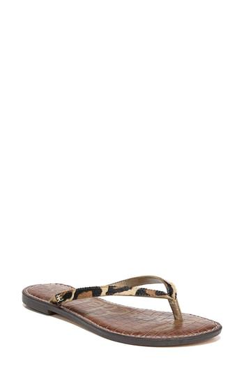 b538f1a3e Sam Edelman Gracie Leopard Brahma Hair Thong Sandals In New Nude Leopard  Brahma Hair