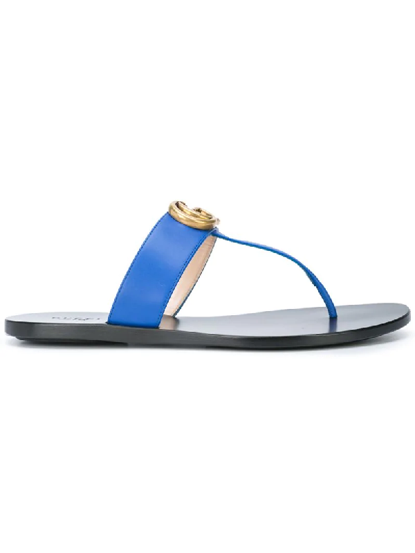 Gucci Marmont Leather Thong Sandals In Blue