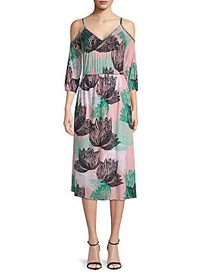 dc95eeef70d Rachel Pally Ariana Floral Cold-Shoulder Midi Dress In Agave Print ...