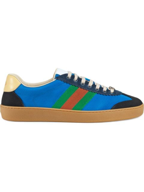 Gucci Jbg Webbing, Suede And Leather In Blue